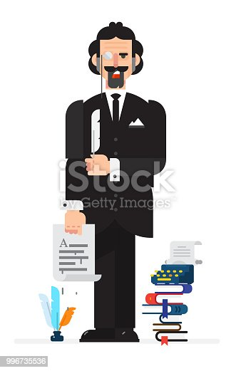Writer-poet in the style of the cartoon. Isolated object on white background. Vector illustration. Flat vector illustration. Characters design.