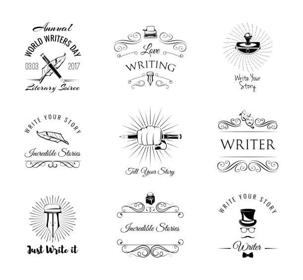 Écrivains étiquettes ensemble. Logos d'écrivain journée mondiale. Presse-papier, plume, stylo élégant, écrivain, littéraire. Tourbillons, cadre ornemental en filigrane, des éléments de décoration. Vector. - Illustration vectorielle