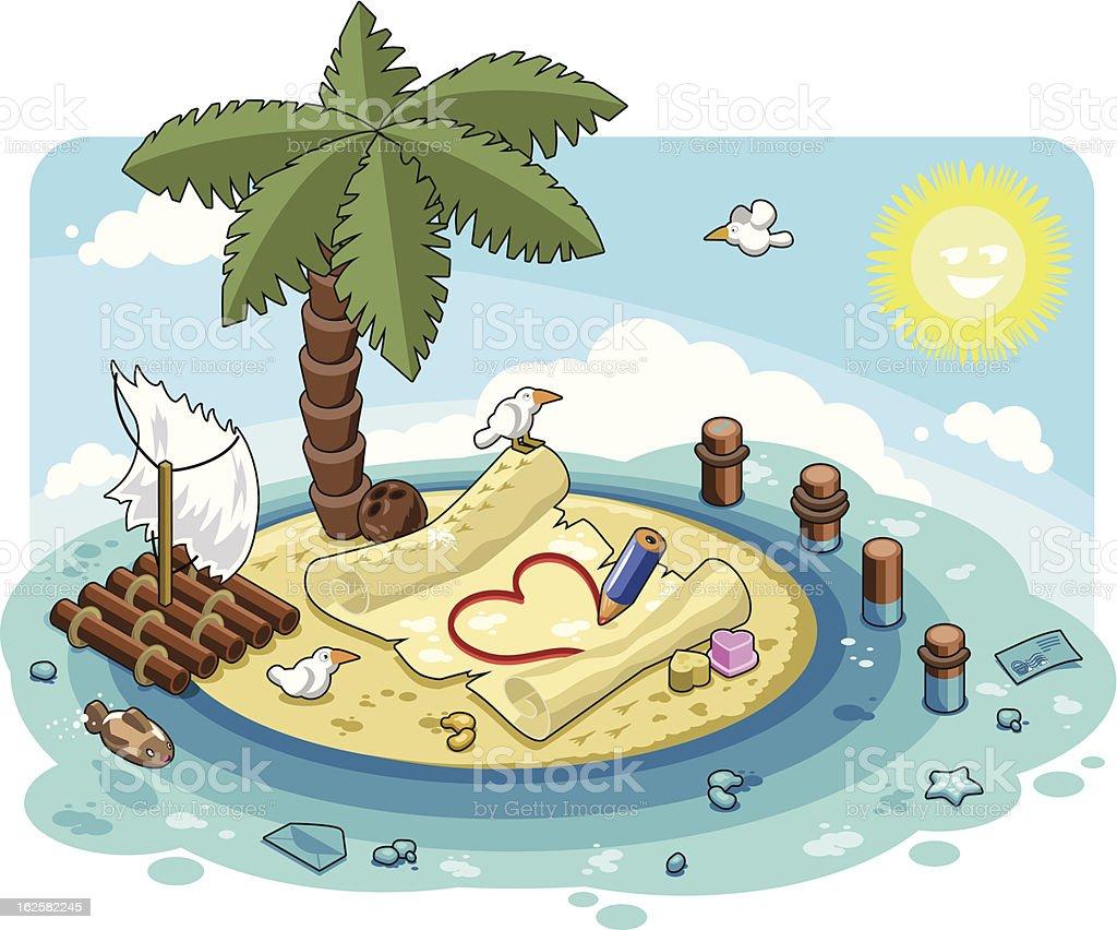 Writing a love letter on romantic caribbean island vector art illustration
