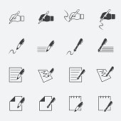 writing and document icon setjinkzcircleline