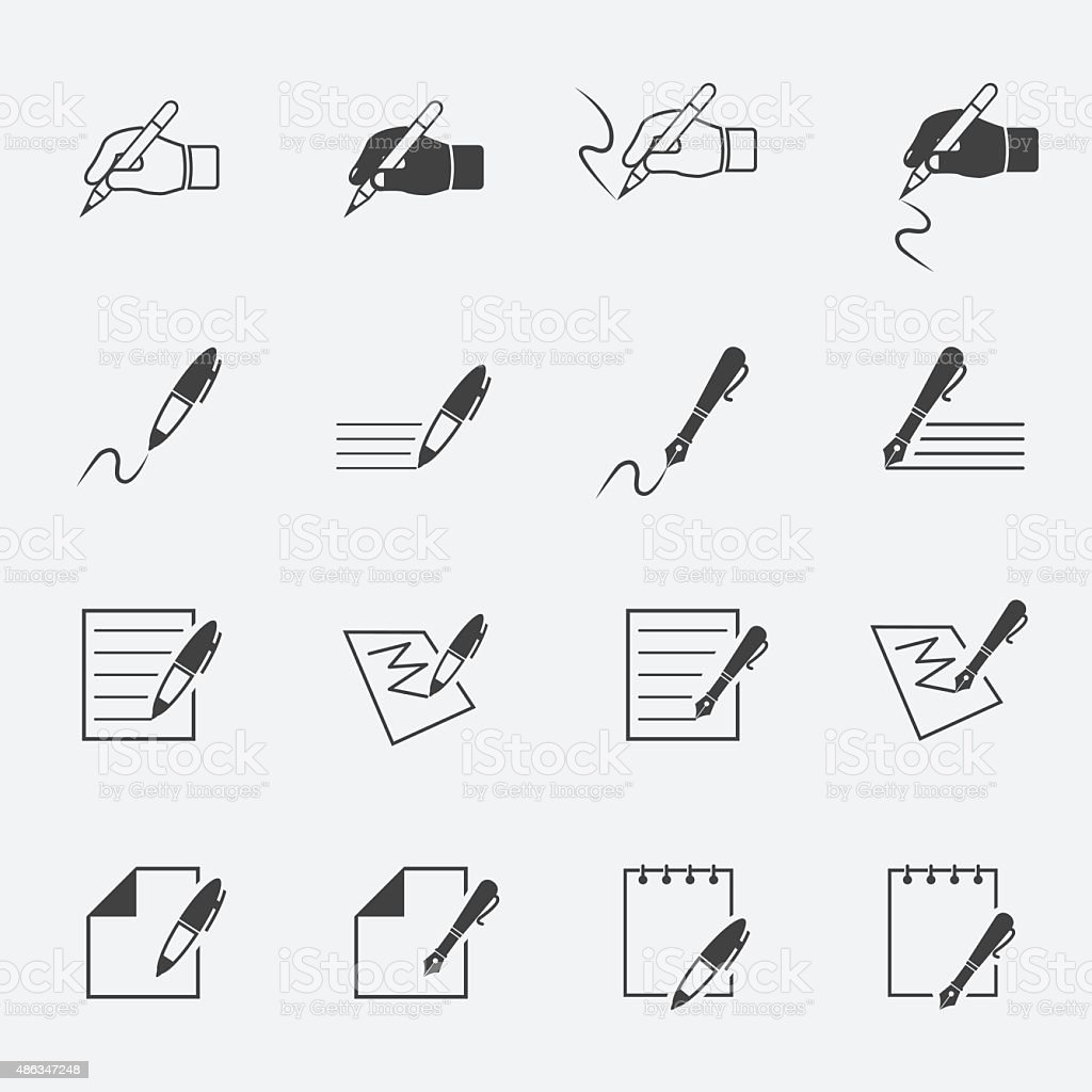 writing and document icon setjinkzcircleline vector art illustration