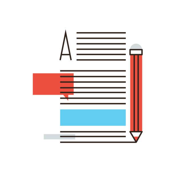 schreiben von artikeln flache linie symbol konzept - korrekturlesen stock-grafiken, -clipart, -cartoons und -symbole