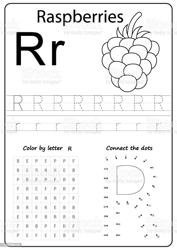 writing az alphabet exercises game for kids writing letter r stock