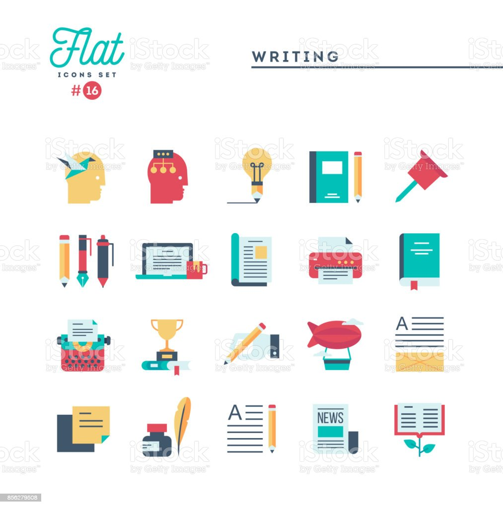 Writing, blogging, best seller book, storytelling and more, flat icons set vector art illustration