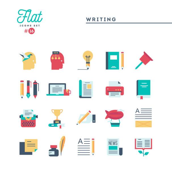 Écriture, blogging, meilleur livre de l'éditeur, raconter des histoires et des icônes plus, plats de la valeur - Illustration vectorielle
