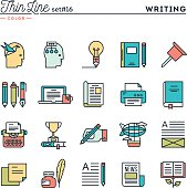 Writing, blogging, best seller book, storytelling and more, thin line color icons set, vector illustration