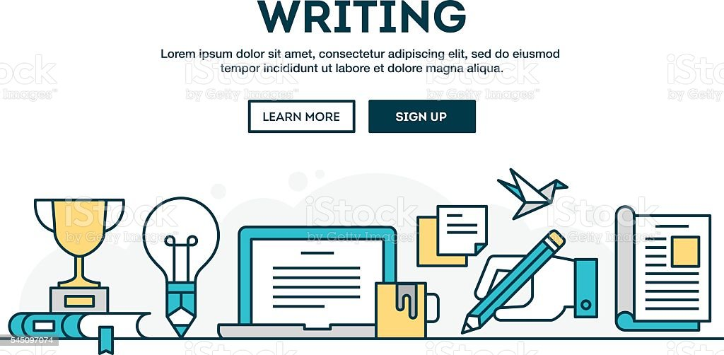 Writing, colorful concept header, flat design thin line style vector art illustration