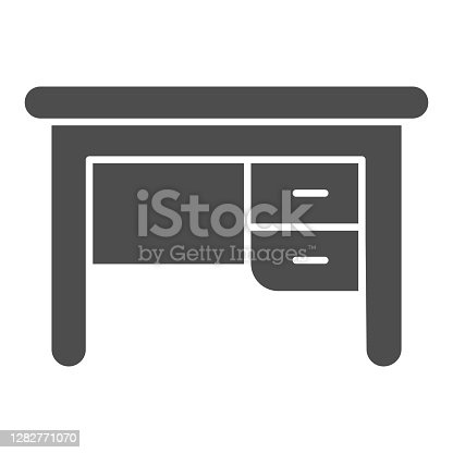 istock Writing desk solid icon, Furniture concept, office furniture sign on white background, vintage office table icon in glyph style for mobile concept and web design. Vector graphics. 1282771070