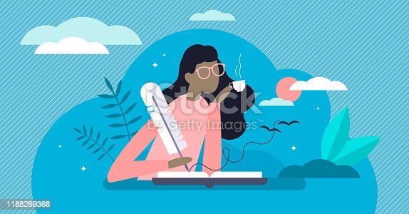 Writing diary vector illustration. Private daily events reflection in flat tiny person concept. Open memo textbook with creative story fixation process. Scene with dreamy memory handwriting author.