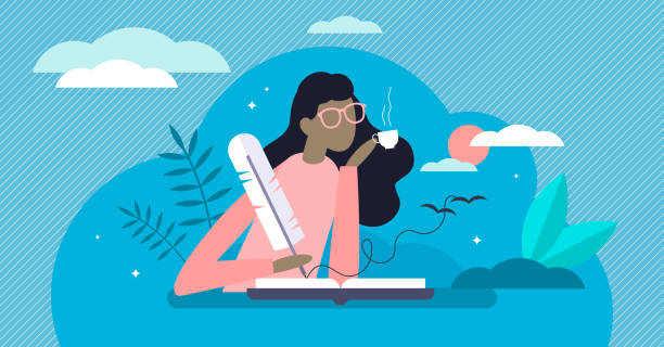 Writing diary vector illustration. Events reflection in tiny person concept vector art illustration