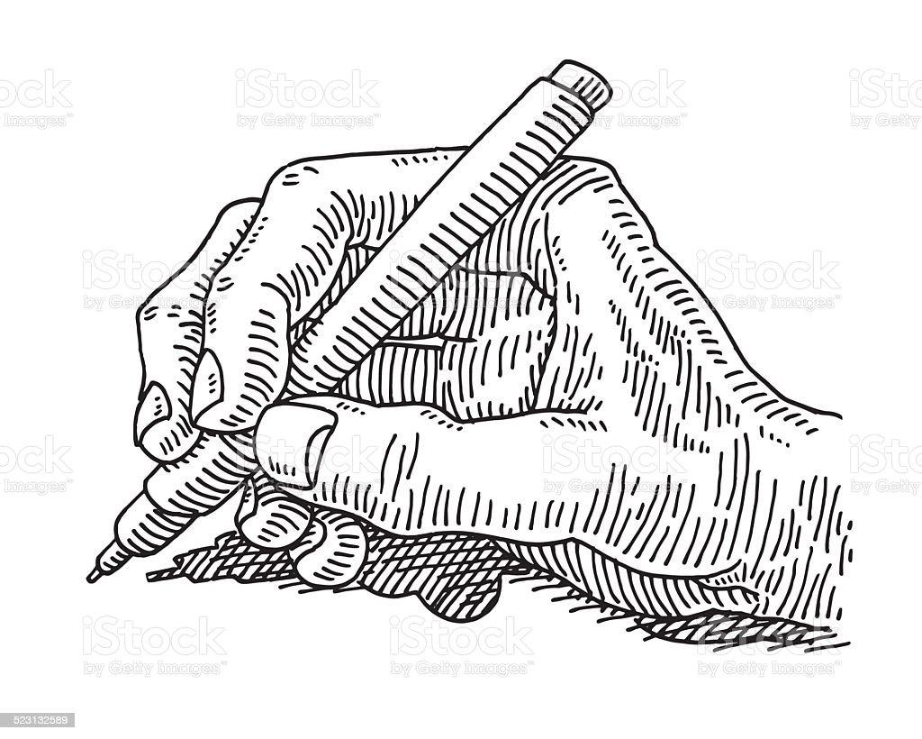 Hand Halten Einen Stift Zeichnen Stock Vektor Art und mehr Bilder ...