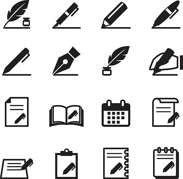 ilustrações de stock, clip art, desenhos animados e ícones de escrita ícones definir ilustração vetorial - caneta