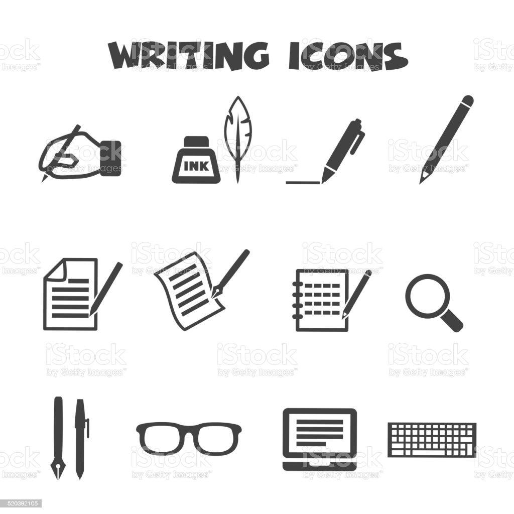 writing icons vector art illustration