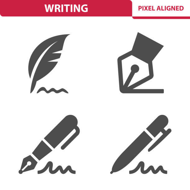 writing icons - pióro przyrząd do pisania stock illustrations