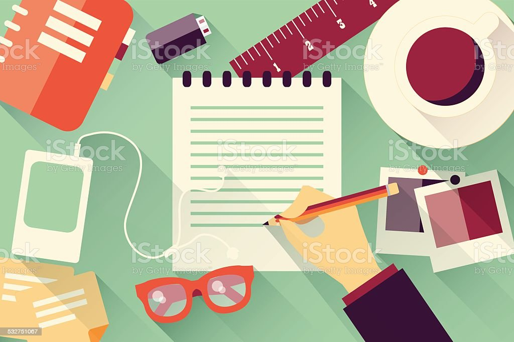 Writing into notebook background with coffee, photos, glasses and flash vector art illustration