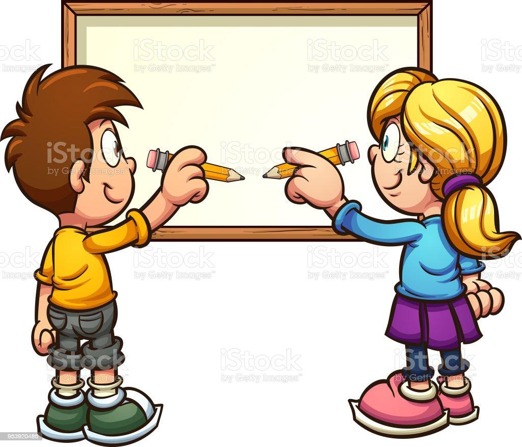 writing kids stock vector art & more images of blackboard 953920486