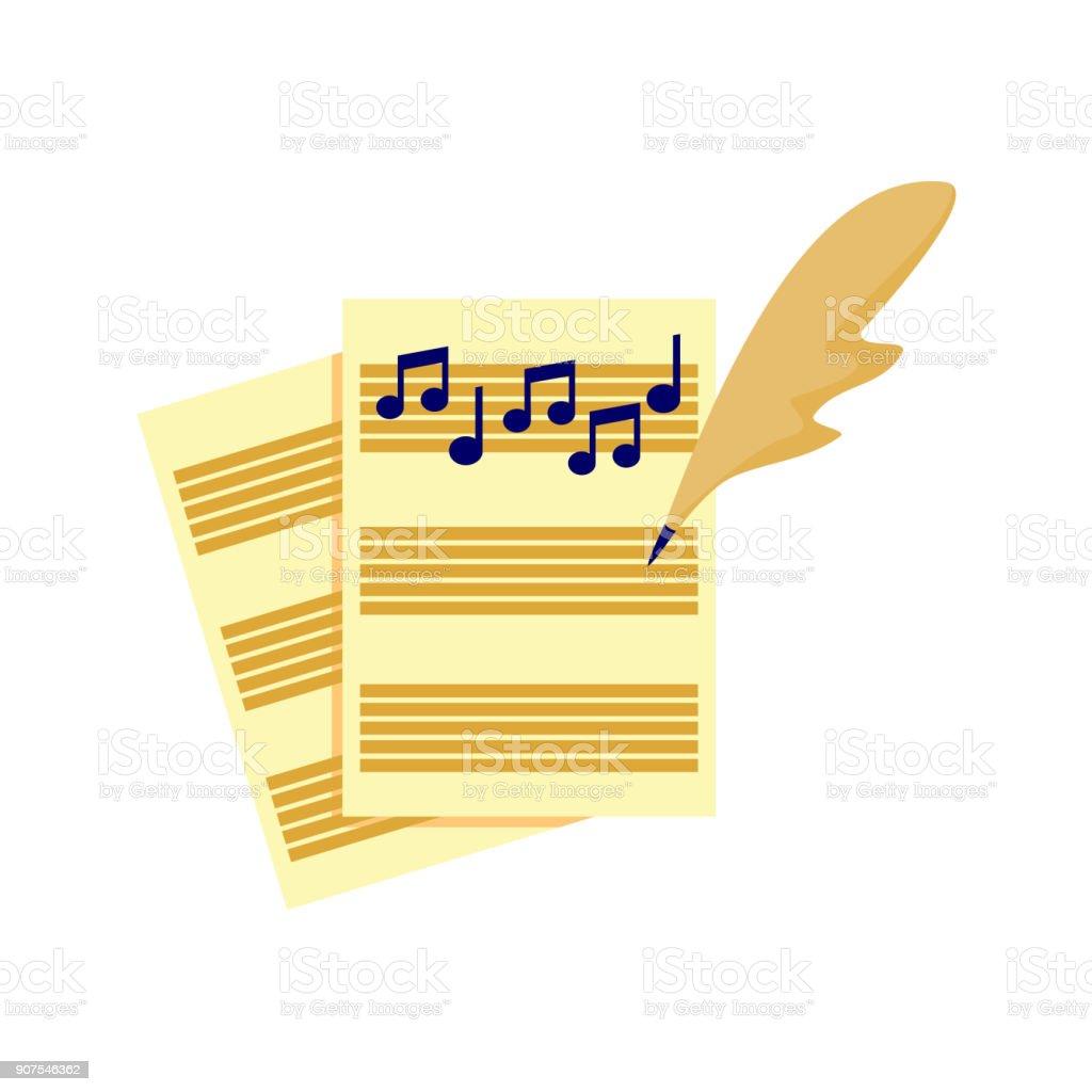 Writing Music Song Tablature Vector Illustration Graphic vector art illustration