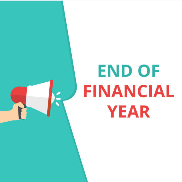 Writing note showing End Of Financial Year. vector art illustration