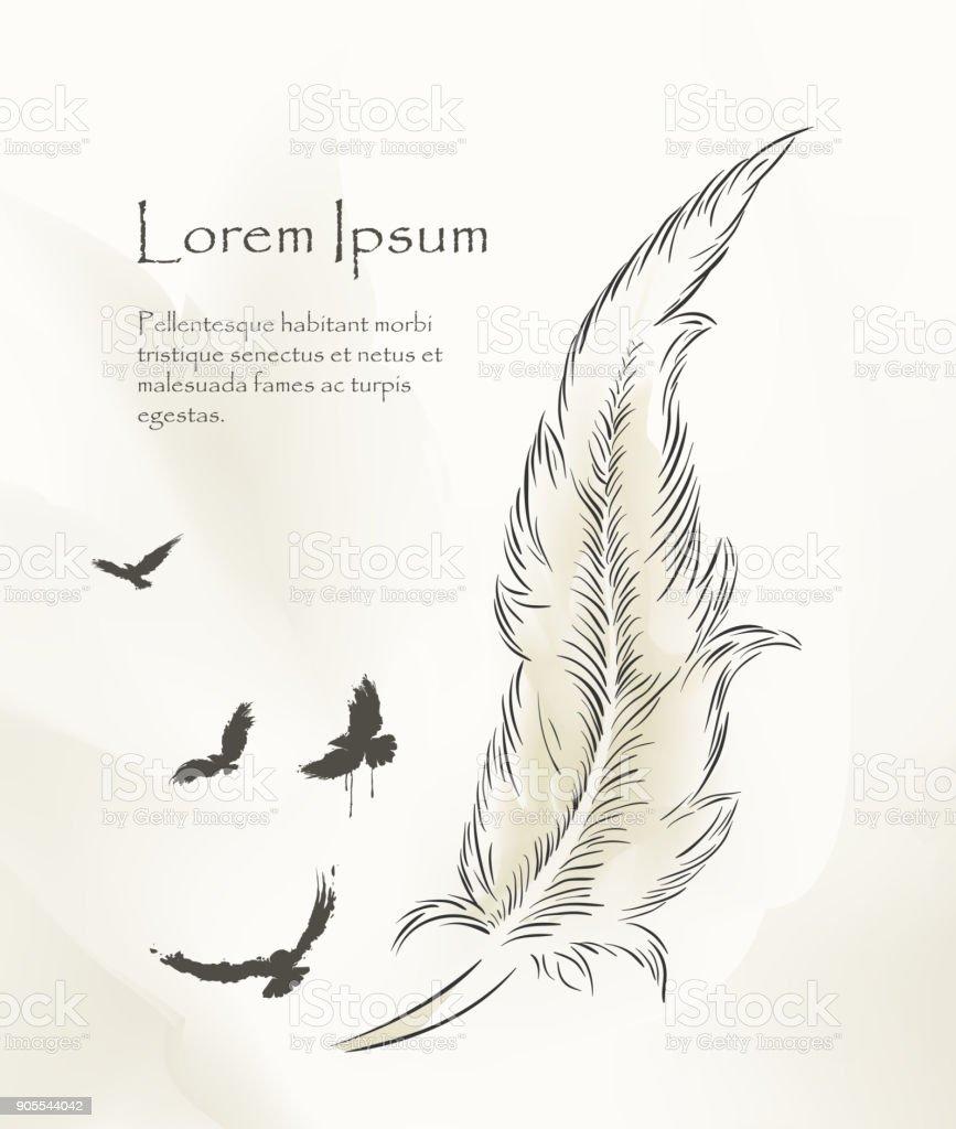 Uçan Kuşlar Ile Yazma Eski Tüy Boya Stok Vektör Sanatı Aktivite