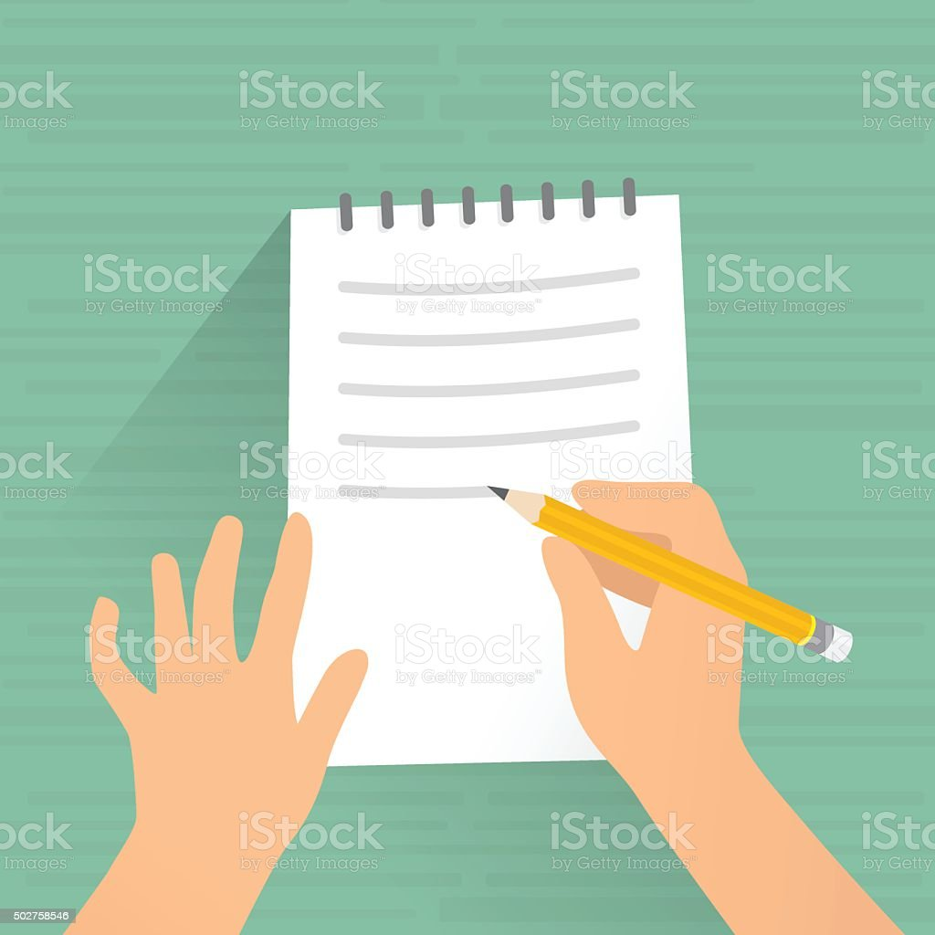 Writing on paper vector art illustration