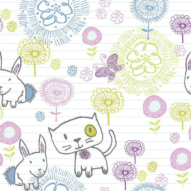 Writing pad doodle - flowers and kitty pattern vector art illustration