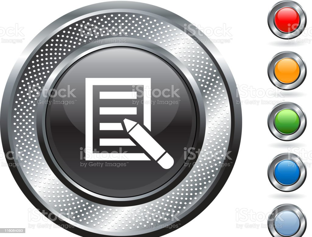 writing pad guestbook royalty free vector art on metallic button vector art illustration