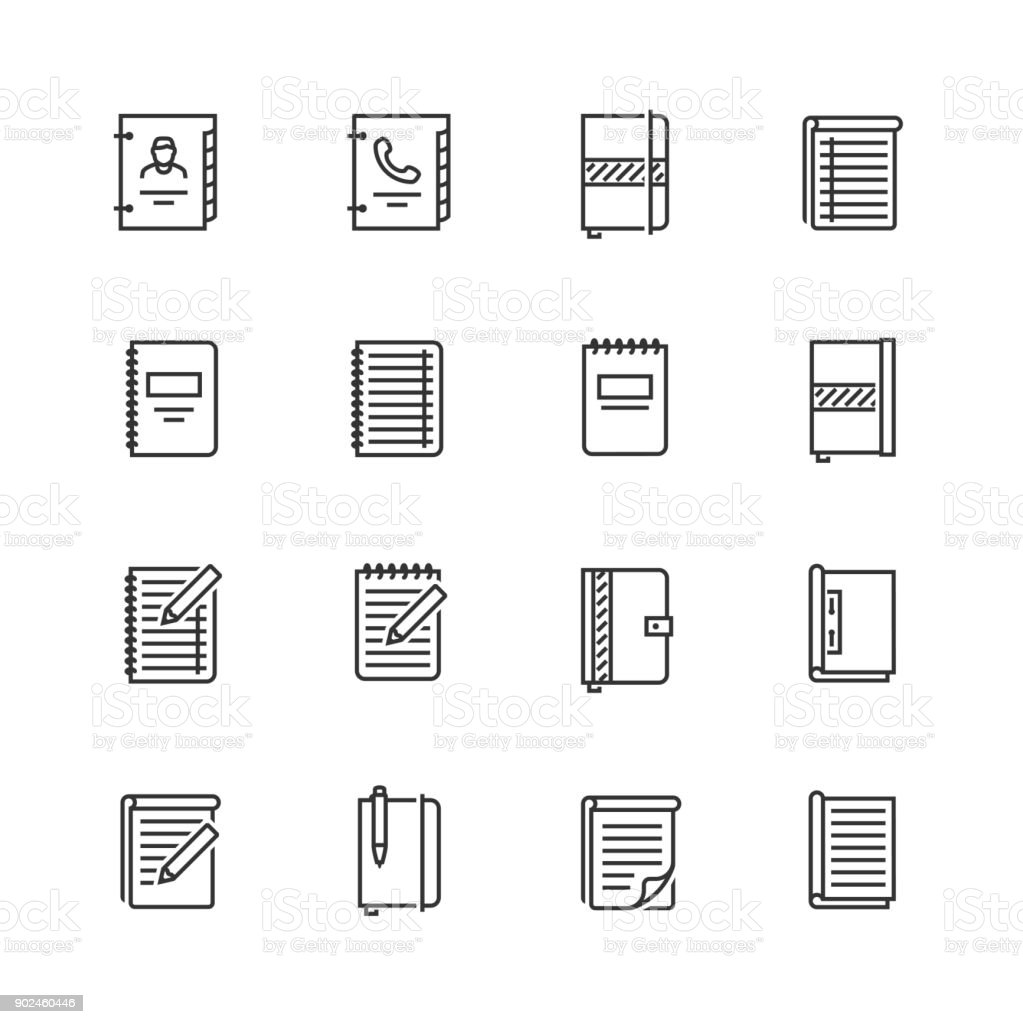 Writing pads vector icon set in thin line style vector art illustration