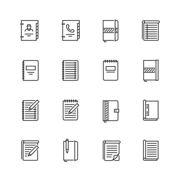 writing pads vector icon set in thin line style - notatka stock illustrations
