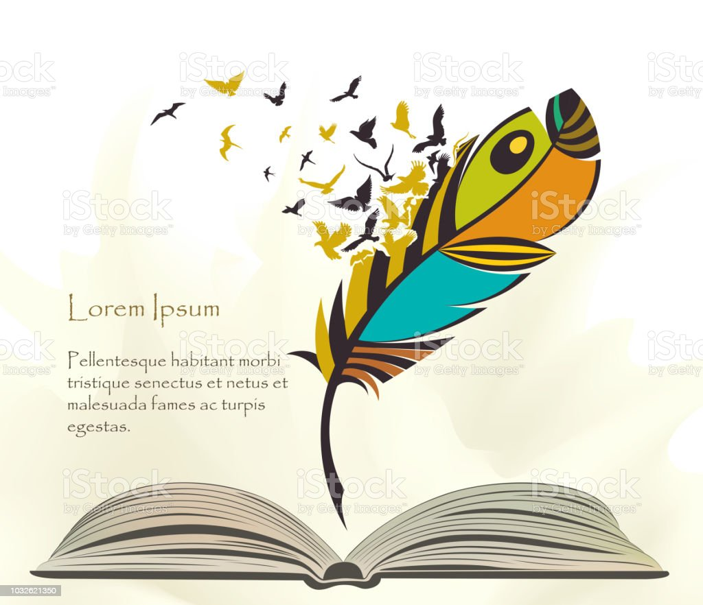 Bunte Feder Stift Mit Fliegenden Vogel Offenes Buch Schreiben Stock
