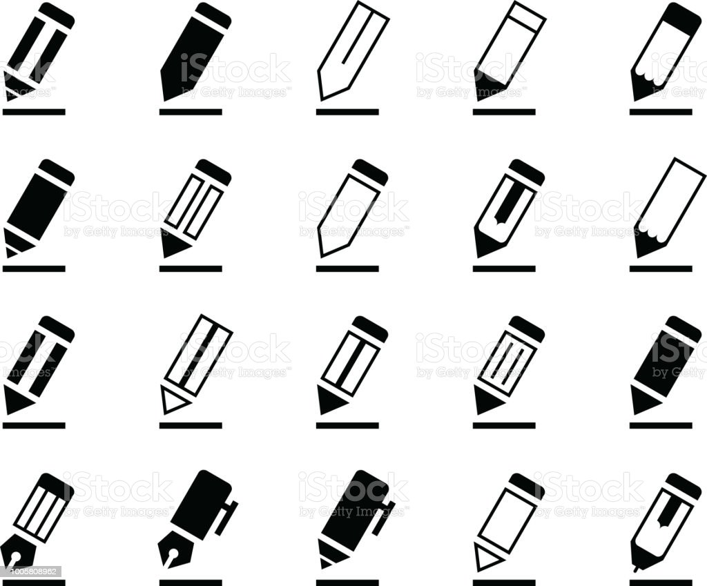 Writing Pencil and Pen Icons vector art illustration