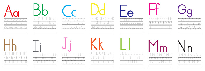 Writing practice of English letters from A to N. Education for children. Vector illustration