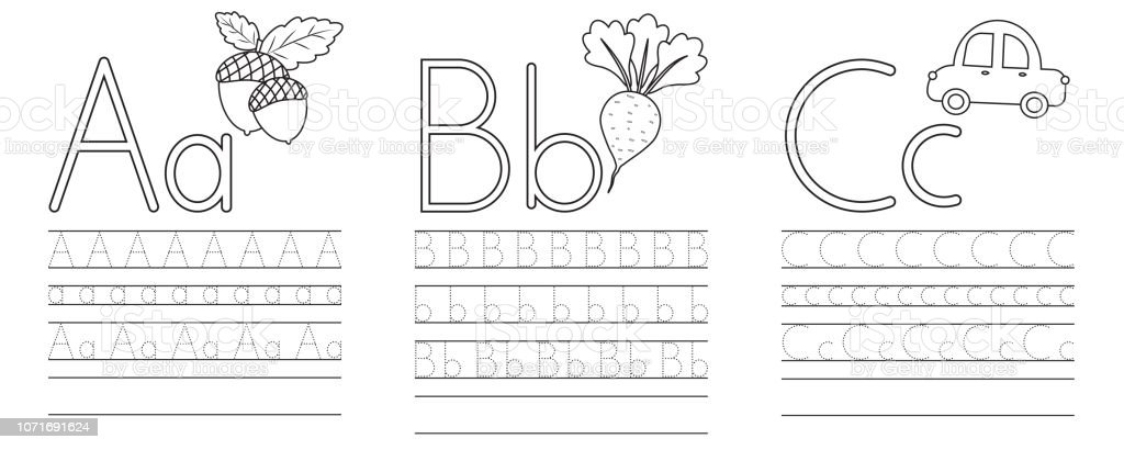 Writing Practice Of Letters Abc Coloring Book Education For ...