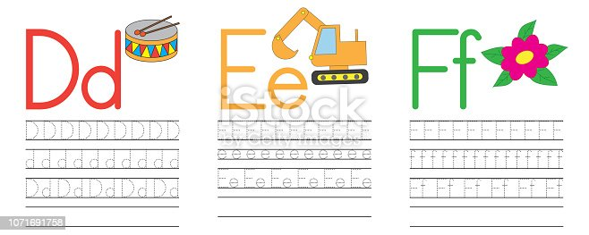 Writing practice of letters D,E,F. Education for children. Vector illustration