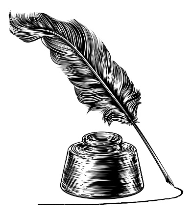 A writing quill feather ink pen and inkwell in a vintage retro woodcut or woodblock line art drawing style
