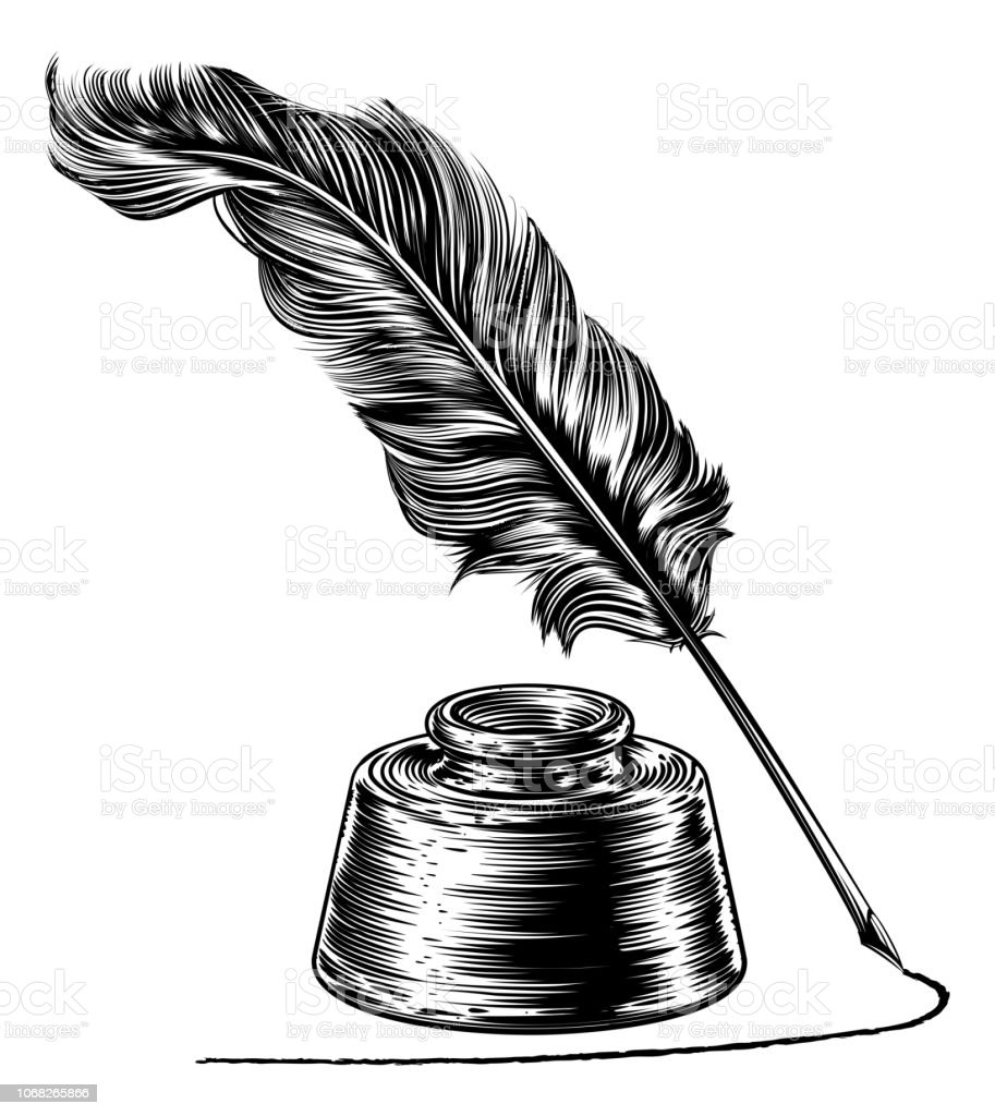 Writing Quill Feather Pen and Ink Well vector art illustration