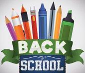 Writing Set of School Supplies for Back to School Season