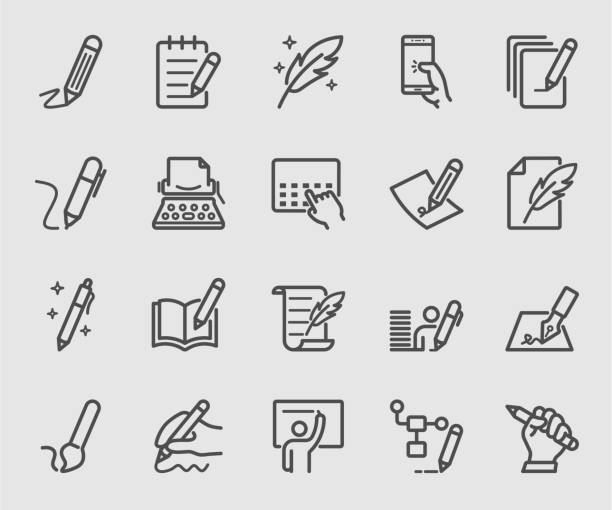 zestaw ikon linii do pisania, podpisu, notatki - notes stock illustrations