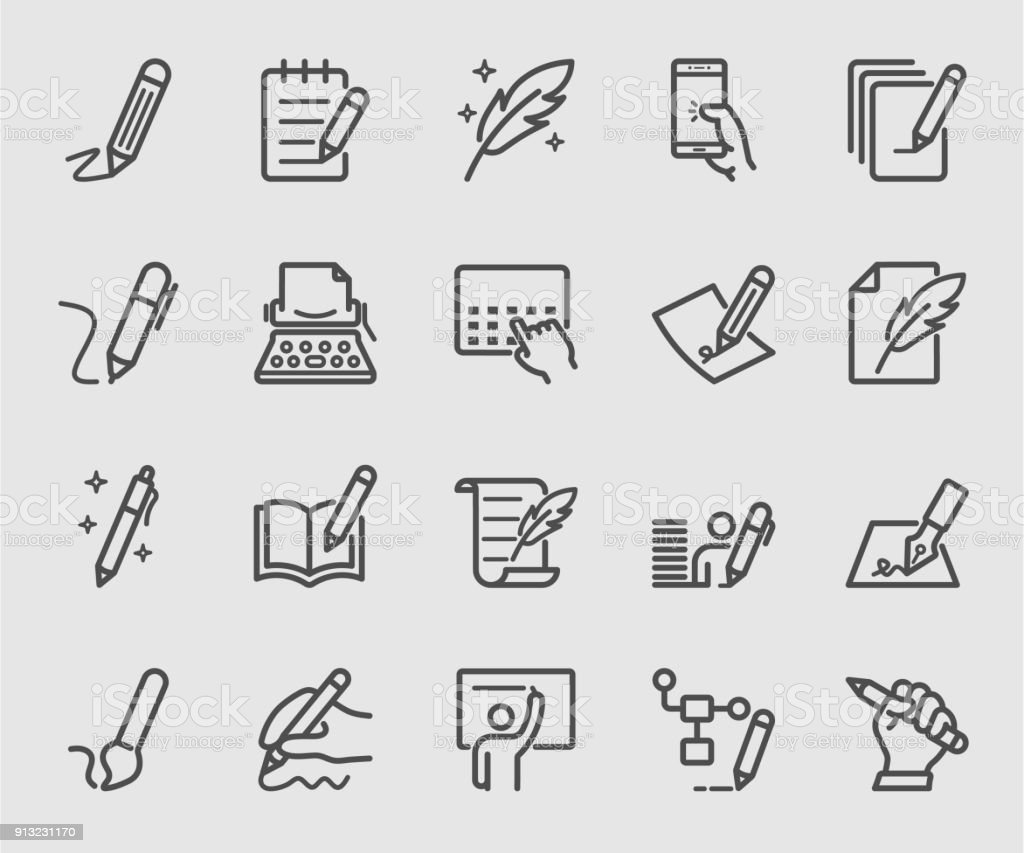 Writing, Signature, Note line icon set vector art illustration