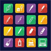 Writing Tools Icons Flat Design