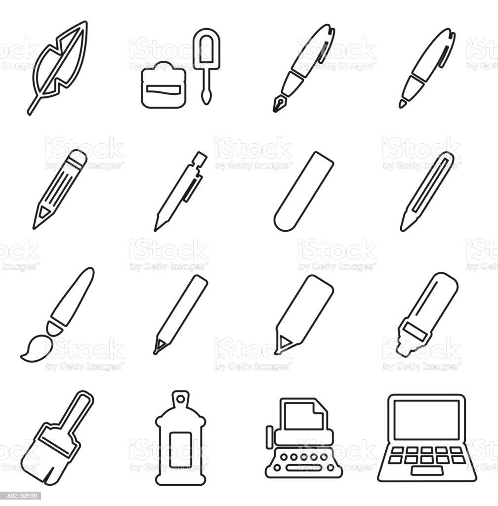 Escrita ferramentas ícones fina linha Set Vector ilustração - ilustração de arte em vetor
