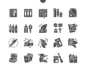 istock Writing tools. Notebooks. Stationery, pencil, pen, marker, case, instrument, calligraphy, education and school. Vector Solid Icons. Simple Pictogram 1308347377