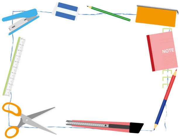 Writing utensil frame vector art illustration