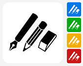 Writing Utensils Icon. This 100% royalty free vector illustration features the main icon pictured in black inside a white square. The alternative color options in blue, green, yellow and red are on the right of the icon and are arranged in a vertical column.