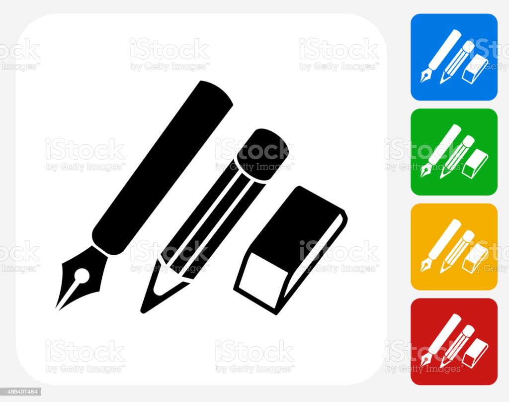 Writing Utensils Icon Flat Graphic Design vector art illustration