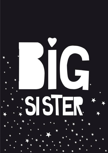 ilustrações, clipart, desenhos animados e ícones de escrita de irmã mais velha - irmã