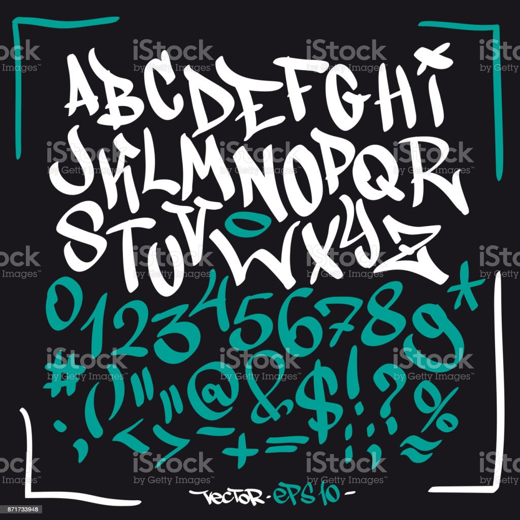 Written Graffiti Font Alphabet Vector Set On Black Stock