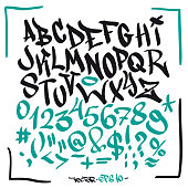 Written graffiti font alphabet. Vector lettering isolated on a white background