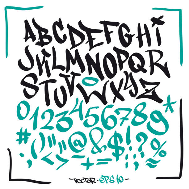 written graffiti font alphabet. vector - graffiti fonts stock illustrations, clip art, cartoons, & icons