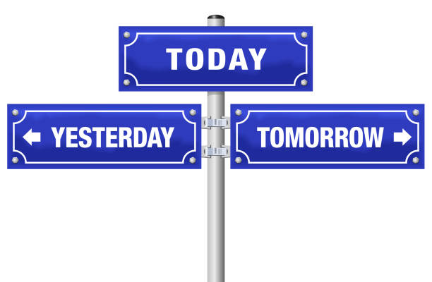 YESTERDAY, TODAY, TOMORROW, written on three blue signposts - symbolic for living in the here and now, not in the past or future - isolated vector illustration on white background. vector art illustration
