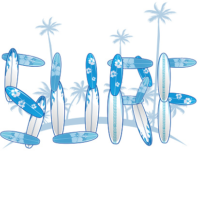 written with blue surfboards with palm tree.vector illustration